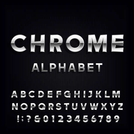 Chrome Alphabet Vector Font. Metallic type letters and numbers on the dark background. Vector typeface for headlines, posters etc. Vettoriali