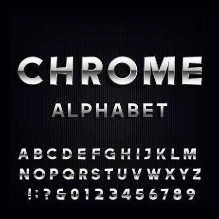 cromo: El alfabeto del cromo Fuente. letras de tipo metálico y números en el fondo oscuro. La tipografía del vector por títulos, carteles, etc. Vectores
