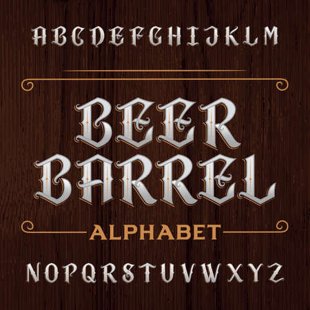 customized: Old decorative alphabet font. Type letters on the dark wooden background. Vintage typeface for labels, headlines, posters etc.