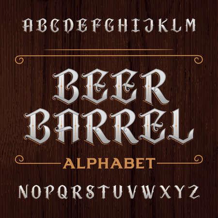 Oude decoratieve alfabet lettertype. Typ letters op de donkere houten achtergrond. Vintage lettertype voor etiketten, koppen, posters etc.