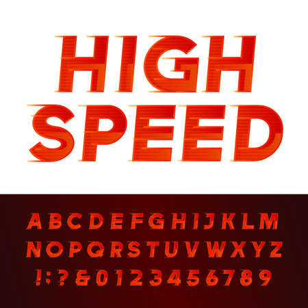 motion: High Speed alphabet font. Motion effect letters and numbers. typography for  headlines, posters etc.