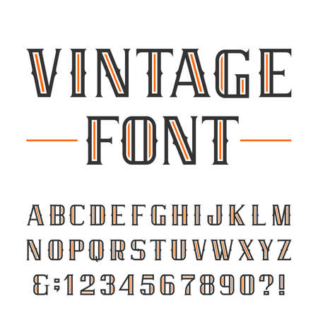 old vintage: Vintage alphabet font. Type letters and numbers on a white background. typeface for labels, headlines, posters etc