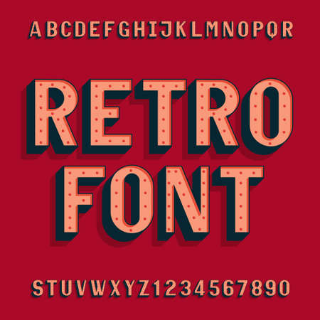 headlines: Retro bulb style alphabet font. Letters and numbers. Vintage typeface for labels,  headlines, posters etc.