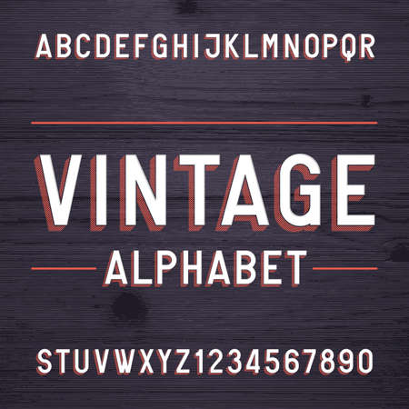 titles: Vintage style alphabet font. Letters and numbers on the dark wooden background. Retro typeface for labels, headlines, posters etc.