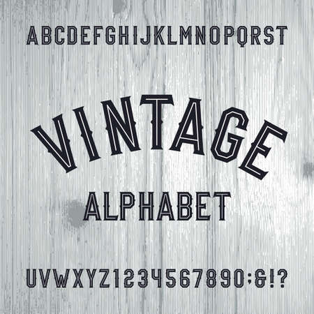 old style lettering: Vintage style alphabet font. Letters and numbers on the light wooden background. Retro typeface for labels,  headlines, posters etc. Illustration