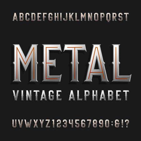 acier: Vintage police alphabet de style. lettres d'effets métalliques et des numéros sur un fond sombre. caractères Retro pour les étiquettes, titres, affiches, etc.