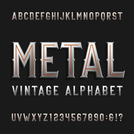 Vintage style alphabet font. Metal effect letters and numbers on a dark background. Retro typeface for labels,  headlines, posters etc.