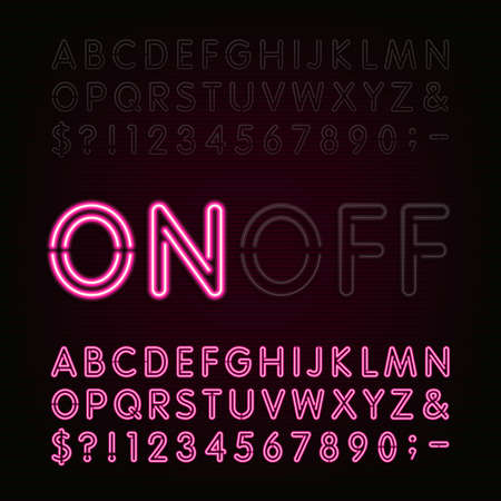 Neon Light Alphabet Font. Two different styles. Lights on or off. Type letters, numbers and symbols. Red neon tube letters on a dark background. typeface for animation, labels, titles, posters etc. Ilustracja