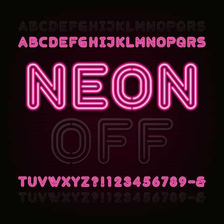 네온 빛 알파벳 글꼴. 두 개의 서로 다른 스타일. 또는 해제 등. 굵은 글씨의 문자, 숫자 및 기호. 어두운 배경에 빨간 네온 튜브 문자. 애니메이션, 라벨