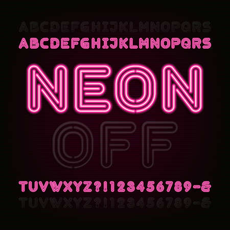 typeface: Neon Light Alphabet Font. Two different styles. Lights on or off. Bold type letters, numbers and symbols. Red neon tube letters on a dark background. typeface for animation, labels, titles, posters etc.