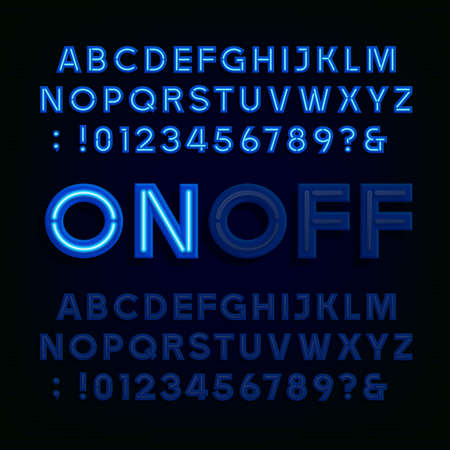 Blue Neon Light Alphabet Font. Two different styles. Lights on or off. Type letters, numbers and symbols. typography for animation, labels, titles, posters etc.