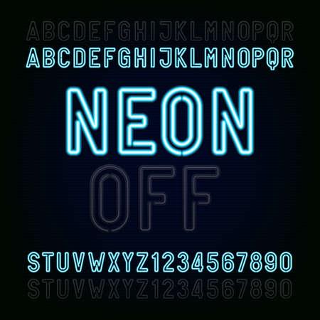 Blue Neon Light Alphabet Font. Twee verschillende stijlen. Lampjes aan of uit. Typ letters en cijfers op een donkere achtergrond. lettertype voor animatie, labels, titels, posters etc. Stockfoto - 54269658