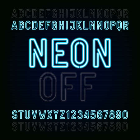 Blue Neon Light Alphabet Font. Two different styles. Lights on or off. Type letters and numbers on a dark background. typeface for animation, labels, titles, posters etc.