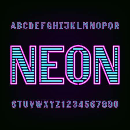 Neon buis licht alfabet lettertype. Typ letters en cijfers op een donkere achtergrond. lettertype voor labels, titels, posters etc. Stock Illustratie