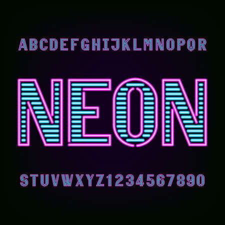 Neon tube light alphabet font. Type letters and numbers on a dark background. typeface for labels, titles, posters etc.