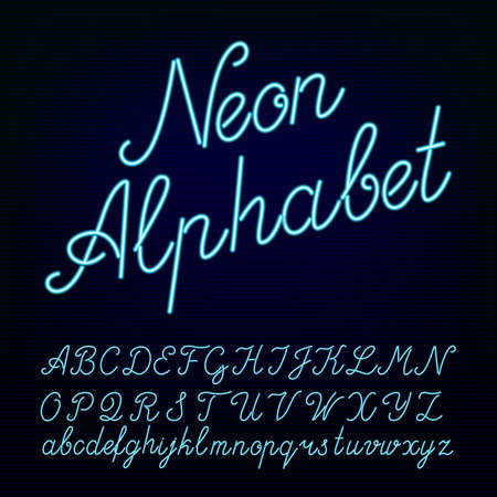 Neon tube alphabet font. Script type letters on a dark background. typeface for labels, titles, posters etc. Vettoriali