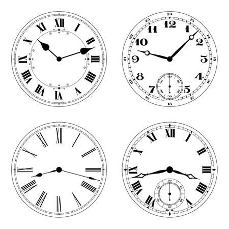 dialing: Editable clock faces in black an white. Round shape. Easily remove and replace hands and design.