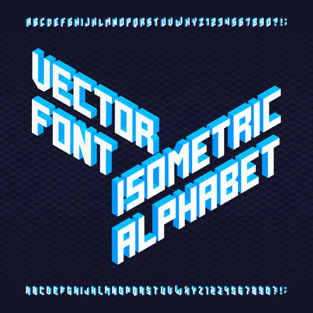 drop cap: 3D isometric alphabet font. Letters and numbers. Three-Dimensional stock typeset for your design.