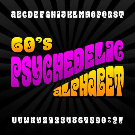 サイケデリックなアルファベットのフォントです。 文字と数字の 60 年代ヒッピー スタイル。在庫あなたのデザイン組版します。