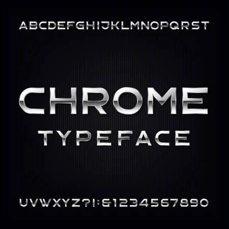 chrome alphabet: Chrome Alphabet Font. Modern metallic letters and numbers on the dark background. Stock typeface for your design.