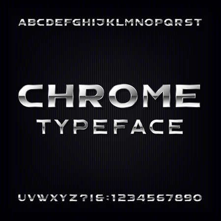 chrome alphabet: Chrome Alphabet Font. Modern metallic bold letters and numbers on the dark background. Stock typeface for your design. Illustration