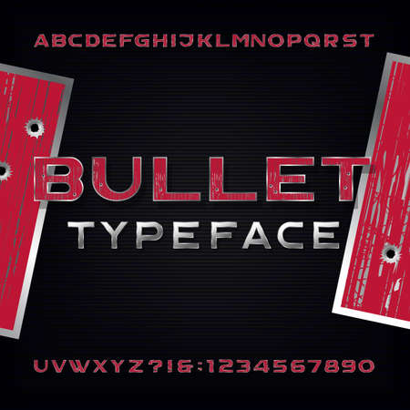 Bullet Hole Alphabet Font. Distressed metallic letters and numbers with bullet holes and scratches on a dark background. Stock typeface for your design.
