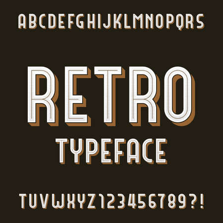 retro type: Retro Alphabet Font. Type letters and numbers. Stock typeface for your design. Illustration