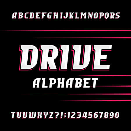 quickness: Drive alphabet vector font. Oblique letters and numbers. Stock vector typeface for your design.