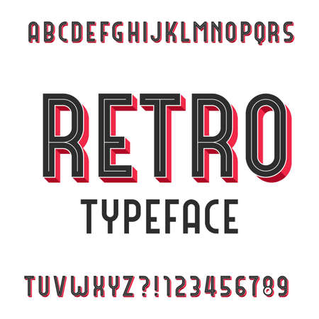 retro type: Retro Alphabet Vector Font. Extruded type letters and numbers. Stock vector typography for your design.