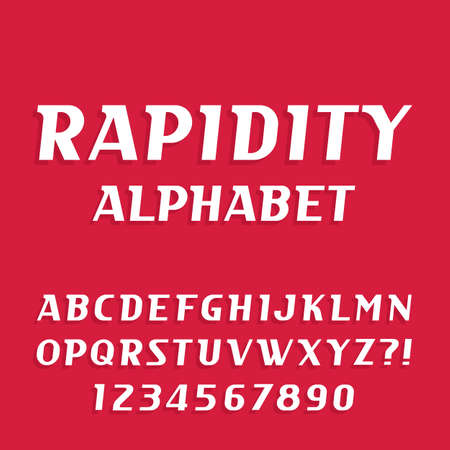 rapidity: Rapidity alphabet vector font. Oblique letters and numbers. Stock vector typeface for your design.