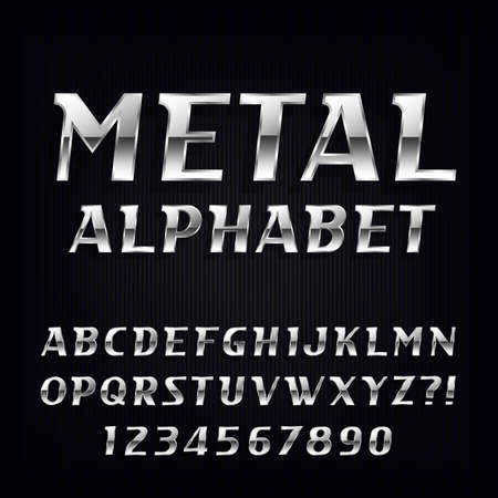 Metal Alphabet Vector Font. Oblique chrome letters and numbers on the dark background. Stock vector typeface for your design.