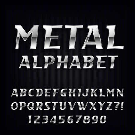 letras cromadas: El alfabeto del metal Fuente. cartas del cromo oblicuas y números en el fondo oscuro. La tipografía Stock vectorial para su diseño.