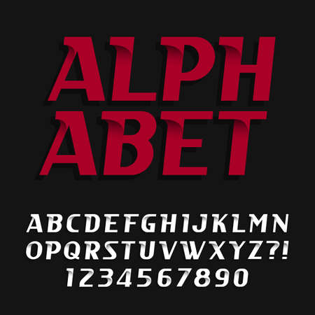 oblique: Decorative alphabet vector font. Oblique type letters and numbers. Stock vector typography for headlines, posters etc.