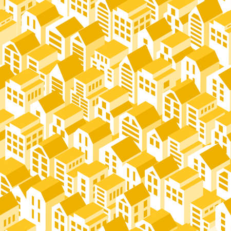 Sun roofs seamless pattern. Vector background with isometric town houses.