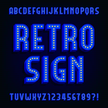 retro type: Retro sign alphabet vector font. 3D type letters with light bulbs and shadows. Vector typeface for your design. Illustration