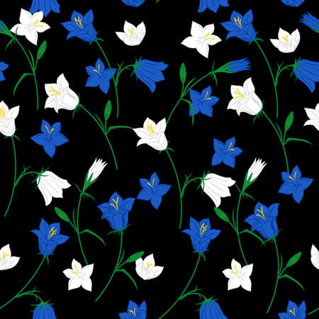 Floral seamless pattern with hand drawn bluebell flowers on the black background. Vector background.