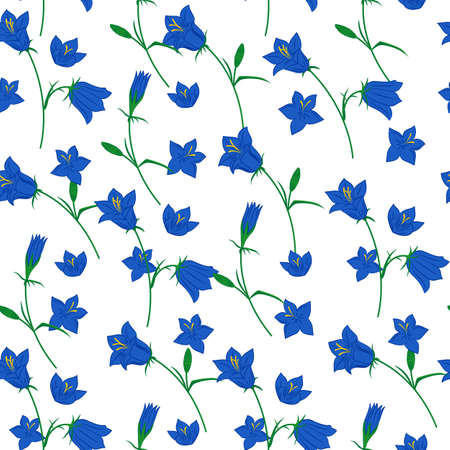 campanula: Floral seamless pattern with hand drawn bluebell flowers on the white background. Vector background.