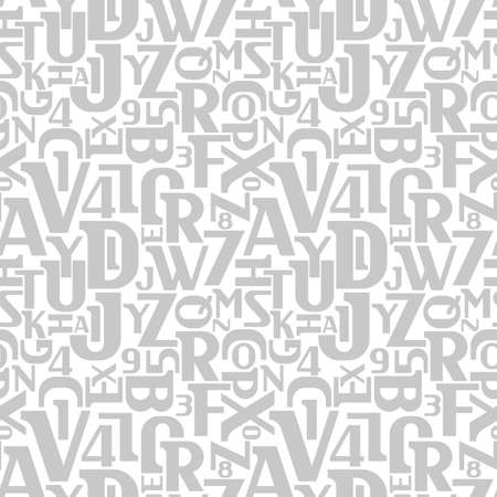 numbers abstract: Abstract letters and numbers seamless pattern. Alphabet vector background.