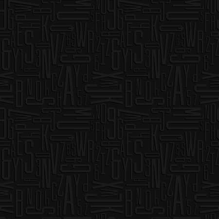 numbers abstract: Abstract letters and numbers seamless pattern. Black alphabet vector background. Illustration