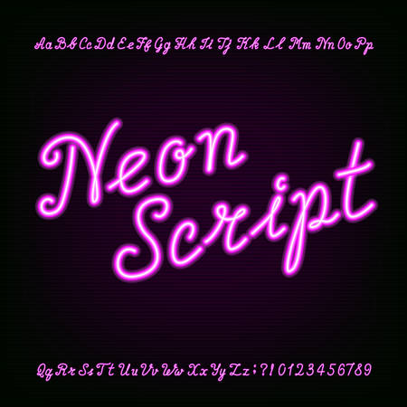 Neon script hand drawn alphabet font. Purple neon type letters and numbers on a dark background. Vector typeface for labels, titles, posters etc.