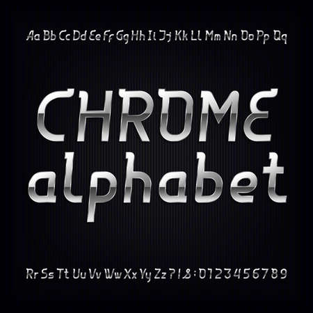 chrome: Chrome alphabet font. Modern metallic lowercase, uppercase letters and numbers on a dark background. Vector typeface for labels, titles, posters etc.