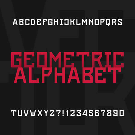 headlines: Geometric alphabet vector font. Type letters and numbers. Stock vector typeface for headlines, posters etc.