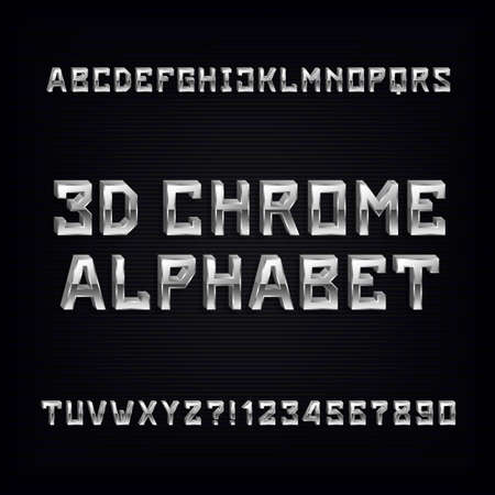 3D chrome alphabet font. Volumetric metal effect letters and numbers on a dark background. Vector typeface for your design.