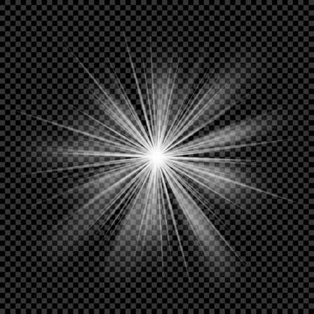 light burst: Glowing light transparent burst. Vector sunlight background with ray sparkles. Bright star. Bright lighting effect sunlight, bright flare.