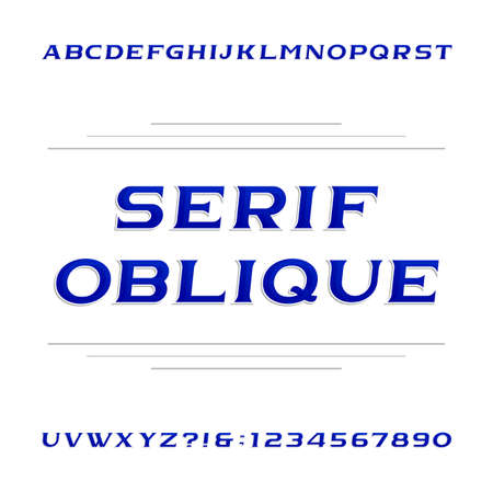 serif: Decorative serif alphabet vector font. Oblique letters and numbers. Stock vector typeface for your design.