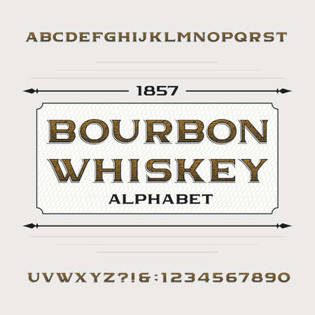 bourbon: Bourbon whiskey alphabet. Retro distressed alphabet vector font. Letters and numbers. Vintage vector typeface for labels, headlines, posters etc.