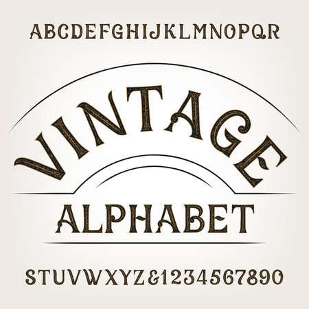 Vintage alphabet. Retro distressed alphabet vector font. Hand drawn letters and numbers. Vintage vector font for labels, headlines, posters etc.  イラスト・ベクター素材