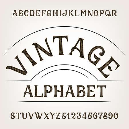 headlines: Vintage alphabet. Retro distressed alphabet vector font. Hand drawn letters and numbers. Vintage vector font for labels, headlines, posters etc. Illustration