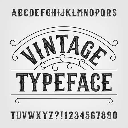Vintage typeface. Retro distressed alphabet font. Hand drawn letters and numbers. Illustration