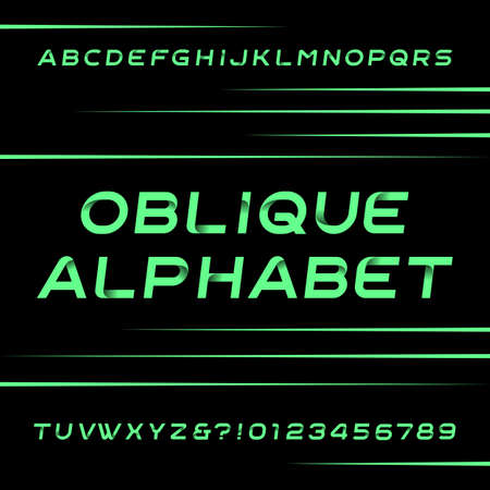 customized: Decorative alphabet font. Oblique type letters and numbers. Stock typeface for your design. Easy color change.